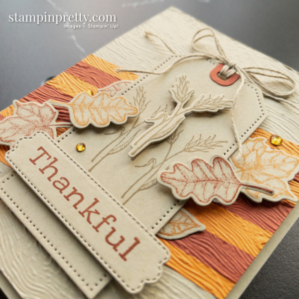 Create this fall-themed thankful card using the Stampin' Up! Time of Giving Bundle, Tailor Made Tags Mary Fish, Stampin' Pretty