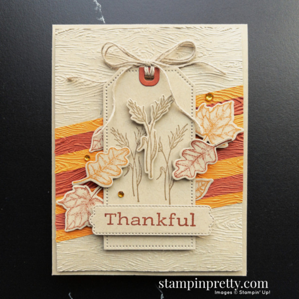 Create this fall-themed thankful card using the Stampin' Up! Time of Giving Bundle. Mary Fish, Stampin' Pretty