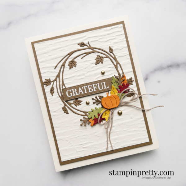 Create this pumpkin and leaf fall card using the Sparkle of the Season Bundle from Stampin' Up! Shop Online 24-7 with Mary Fish, Stampin' Pretty