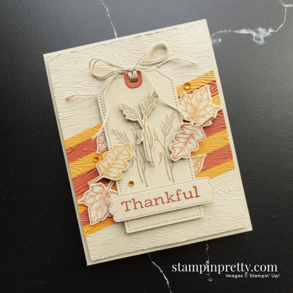 Create this thankful card using the Stampin' Up! Time of Giving Bundle. Mary Fish, Stampin' Pretty