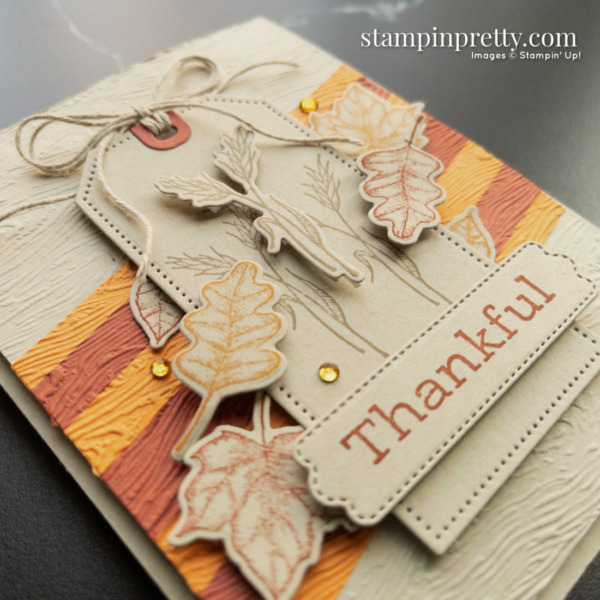 Create this thankful card with fall colors using the Time of Giving Bundle by Stampin' Up! Mary Fish, Stampin' Pretty