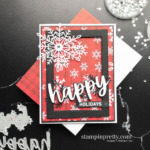 Happy Holidays Card using Words of Cheer Bundle and Peaceful Prints Designer Series Paper. Mary Fish, Stampin
