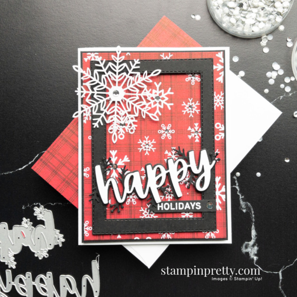 Happy Holidays Card using Words of Cheer Bundle and Peaceful Prints Designer Series Paper. Mary Fish, Stampin' Pretty