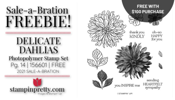 Mary Fish Stampin' Pretty Stampin' Up! Delicate Dahlias Stamp Set Earn Free with $100 Purchase