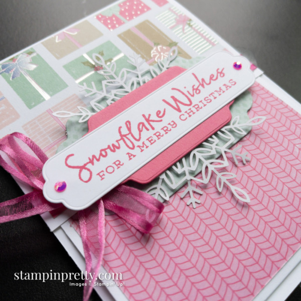 Create this Fun Fold Card using the Snowflake Wishes Stamp Set and Seasonal Labels Dies by Stampin' Up! Mary Fish Stampin' Pretty
