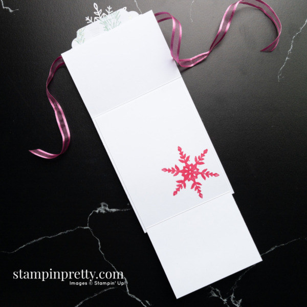 Create this Fun Fold Card using the Snowflake Wishes Stamp Set and Seasonal Labels Dies by Stampin' Up! Mary Fish, Stampin' Pretty Inside
