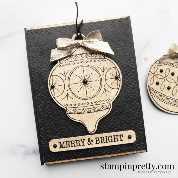 Create this Merry & Bright Holiday Card using Bright Baubles Bundle from Stampin' Up! Christmas Card by Mary Fish Stampin' Pretty