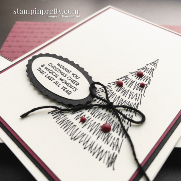 Create this card using the Whimsical Trees Stamp Set by Stampin' Up! Christmas Cheer Card by Mary Fish, Stampin' Pretty