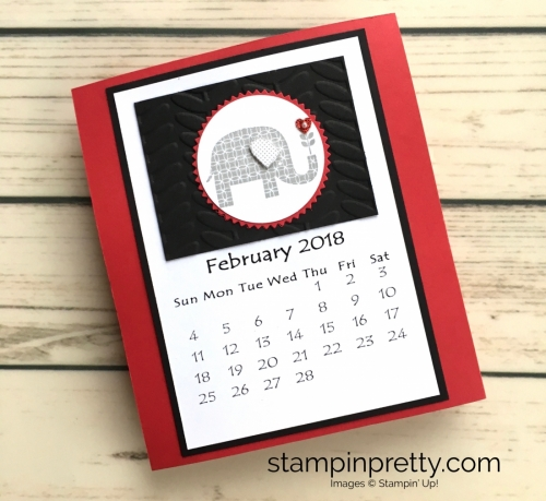 Learn how to create this CD case calendar with Stampin Up products - www.stampinpretty.com StampinUp February
